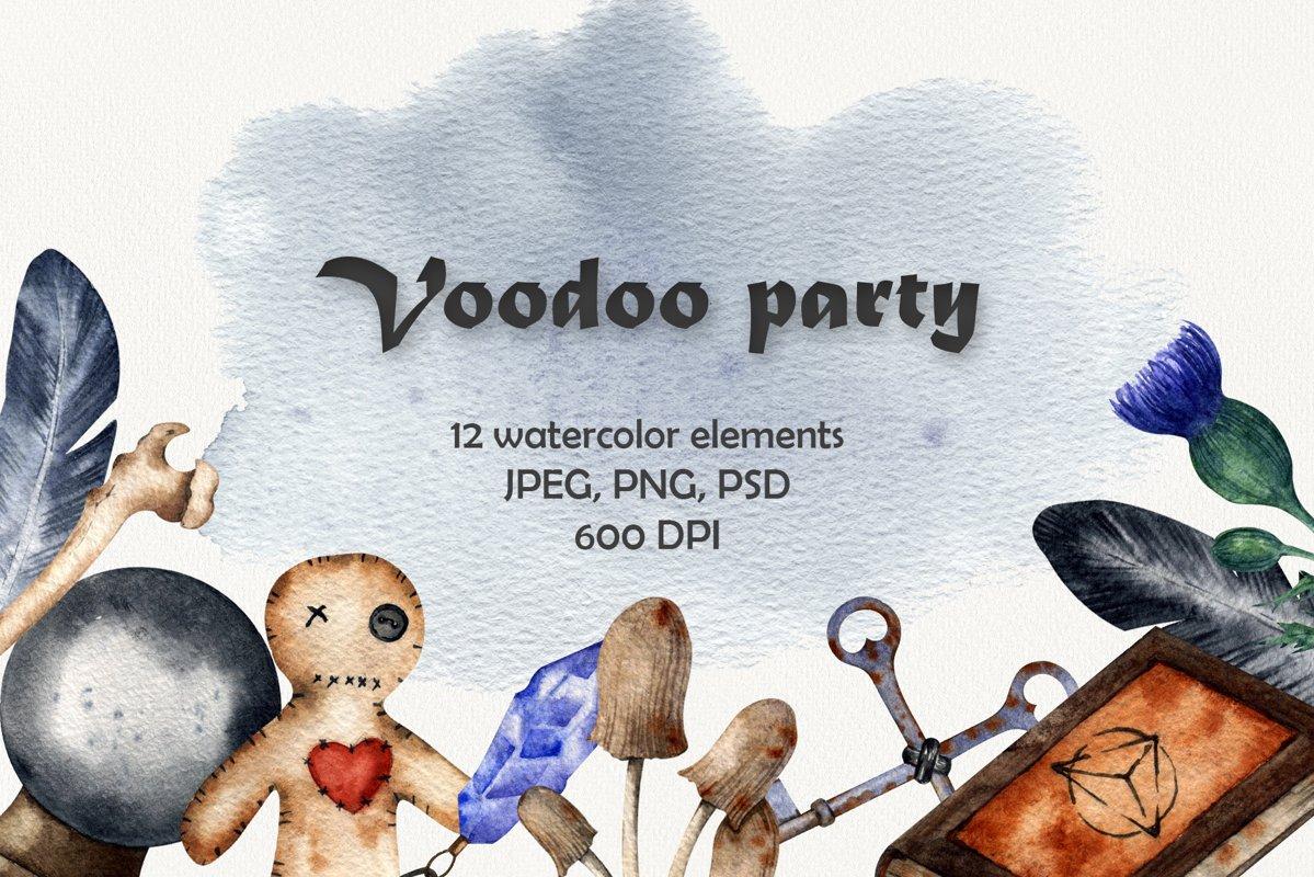 """Voodoo party"" Watercolor set example image 1"