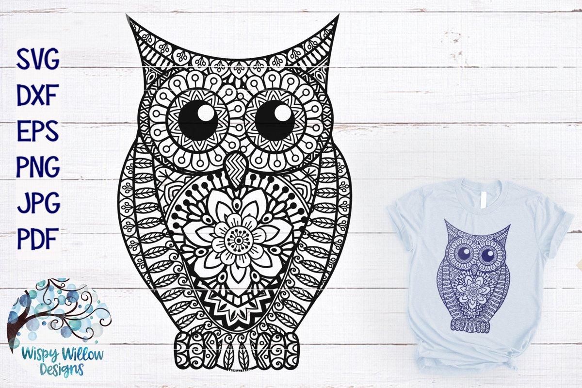 Owl Zentangle | Owl Mandala SVG Cut File example image 1