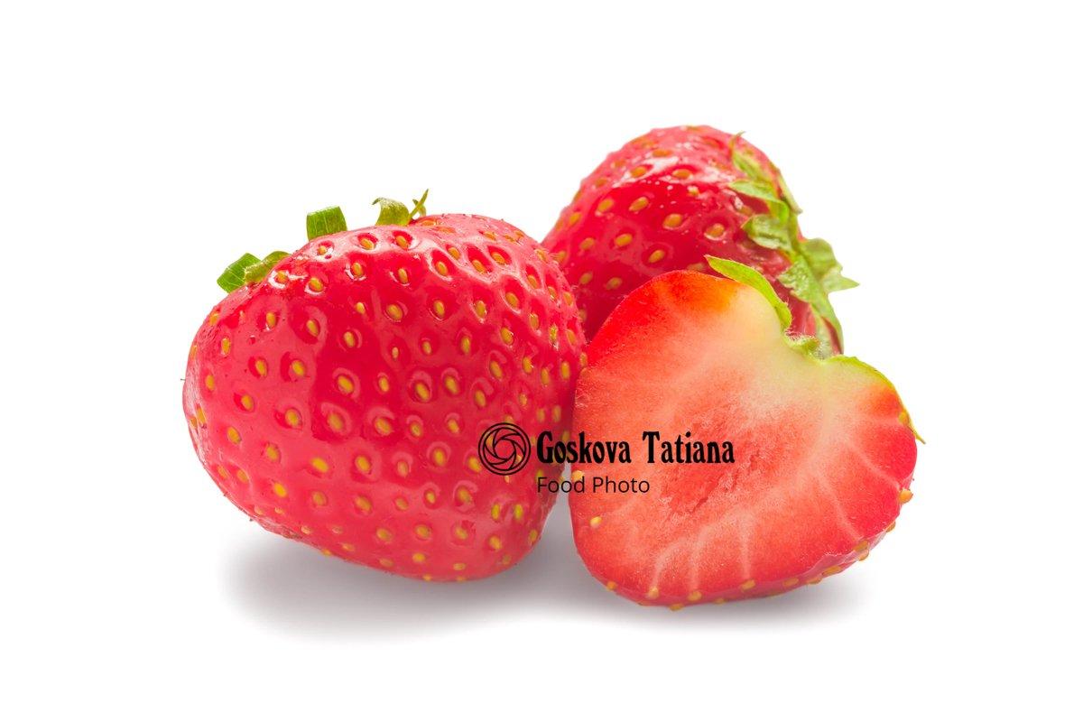 Photo of Fresh glossy strawberry isolated on white example image 1