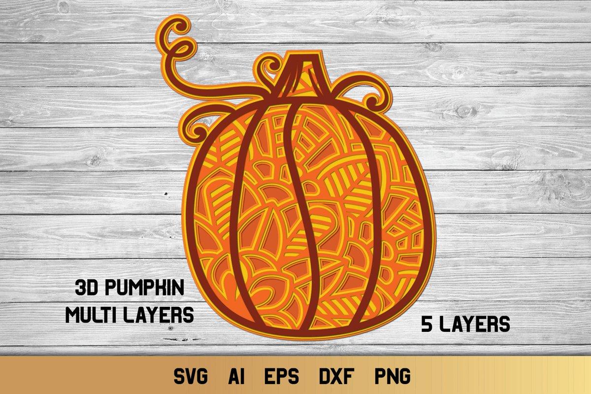 3D Layered Pumpkin SVG | Fall Multi Layer| Autumn Cut File example image 1