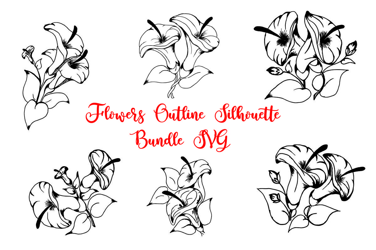 Flowers Outline Silhouette Bundle SVG example image 1