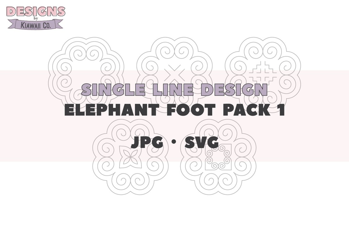 Single Line Design - Hmong Elephant Foot Pack 1 - JPG - SVG example image 1
