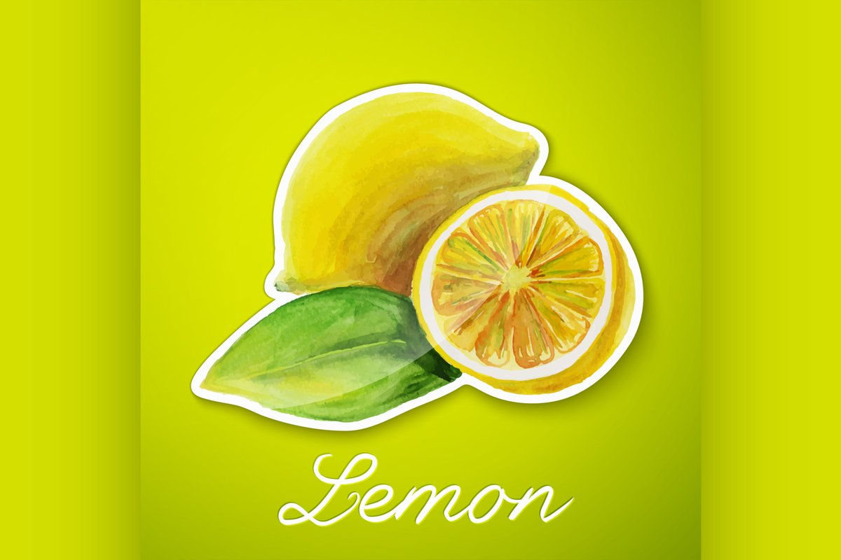 Lemon sticker, watercolor painting example image 1