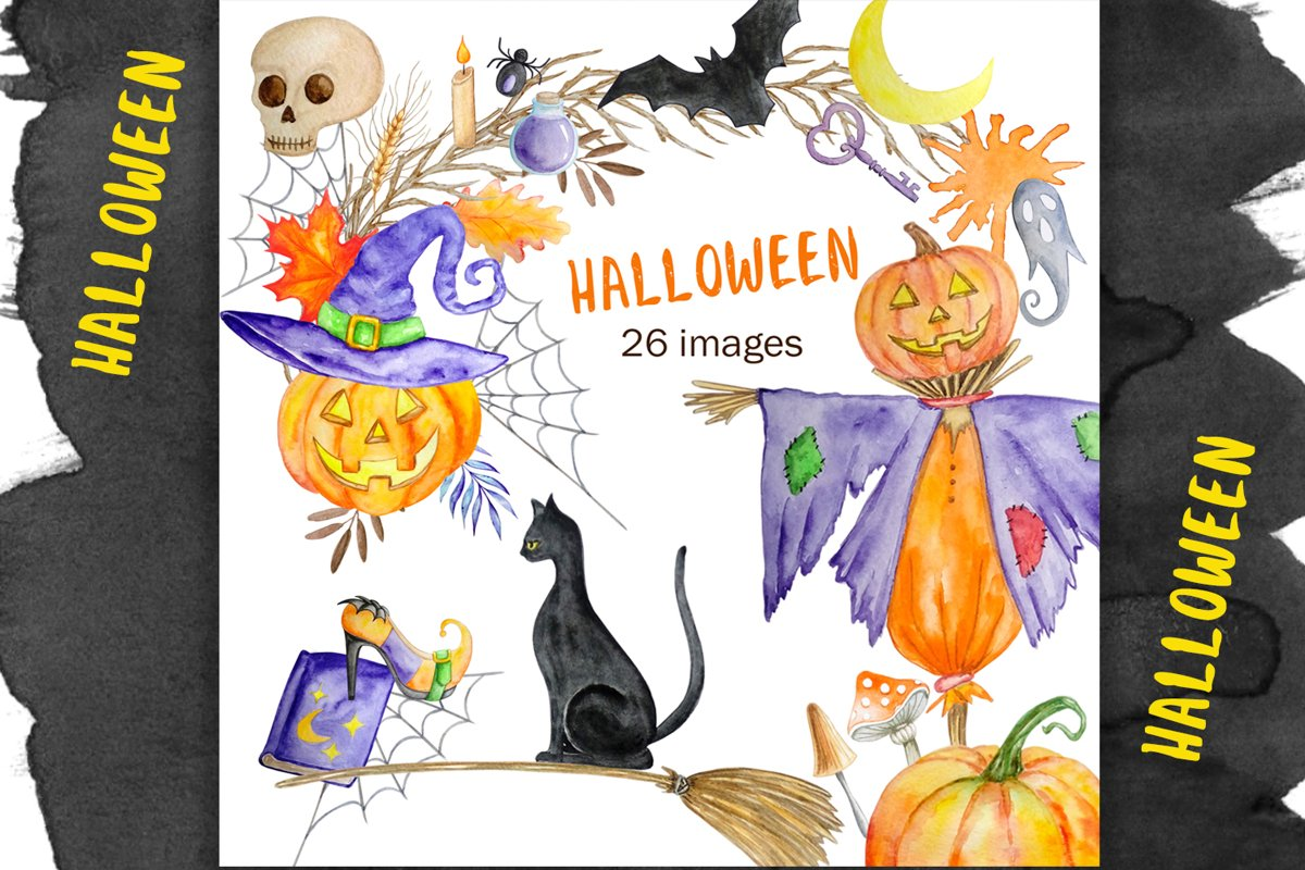 Halloween watercolor clipart example image 1