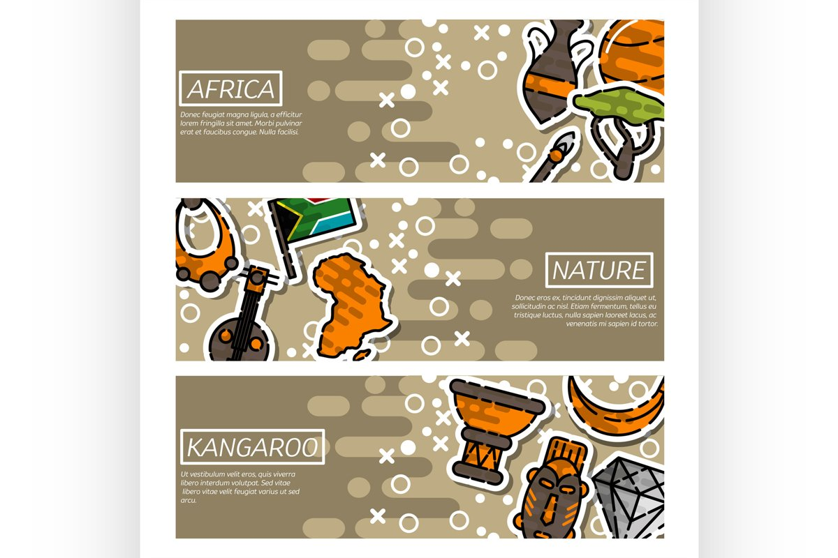 Set of Horizontal Banners about Africa example image 1