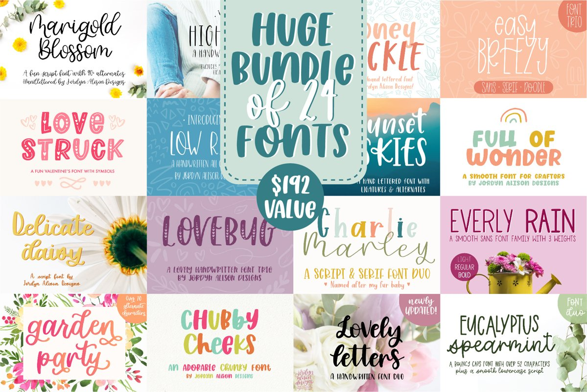 Huge Font Bundle, 24 fonts from 16 Font Families example image 1