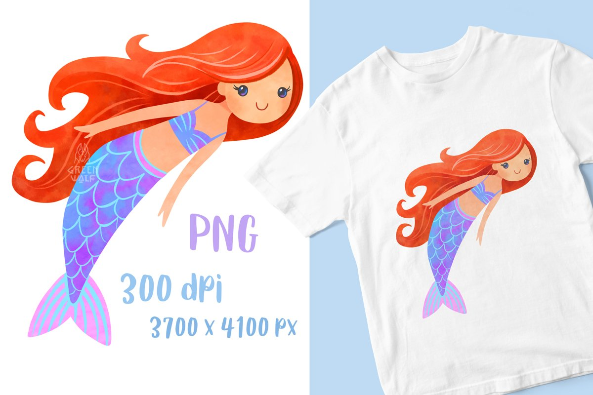 Watercolor mermaid t shirt print for girl PNG Sublimation example image 1
