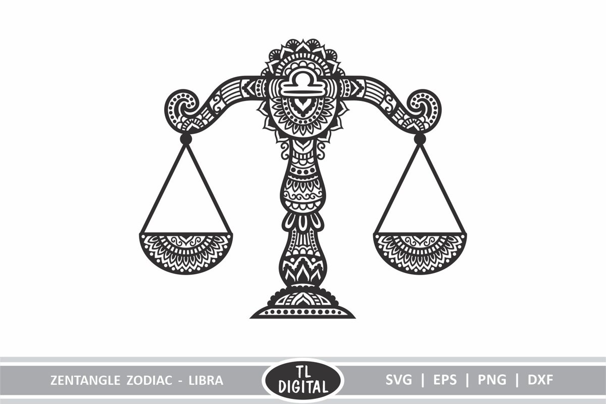 Zodiac Zentangle - Libra / Scales - SVG | EPS | PNG | DXF example image 1