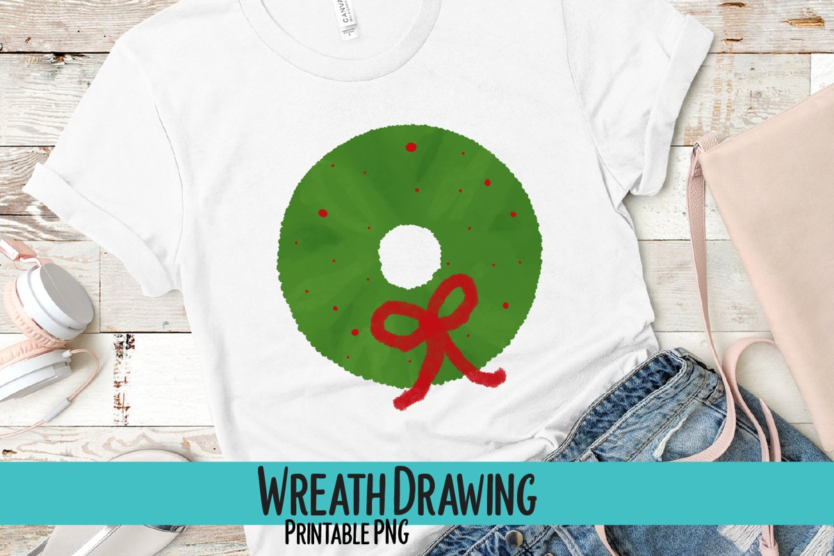 Wreath Drawing Sublimation PNG example image 1