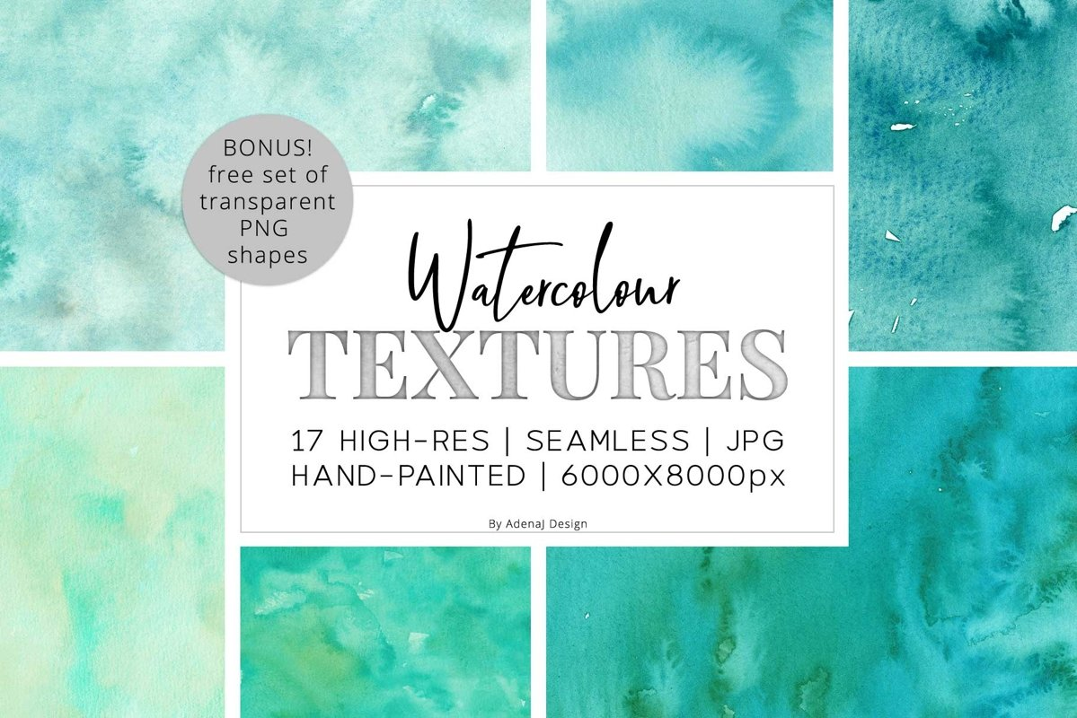 17 Huge Seamless Green Watercolor Textures example image 1