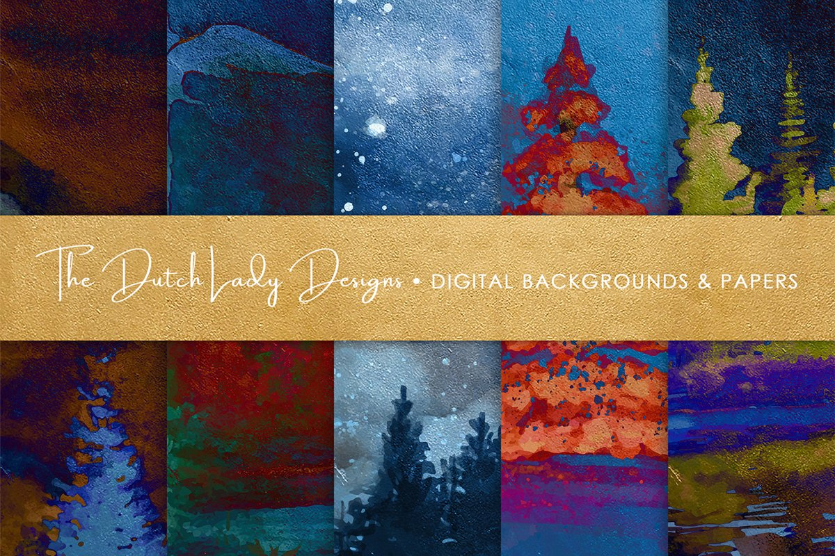 Digital Backgrounds & Papers - Winter Night Forest example image 1