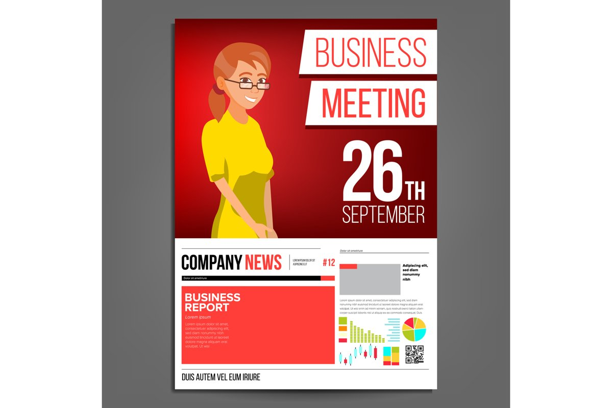 Business Meeting Poster Vector. Business Woman. Invitation example image 1