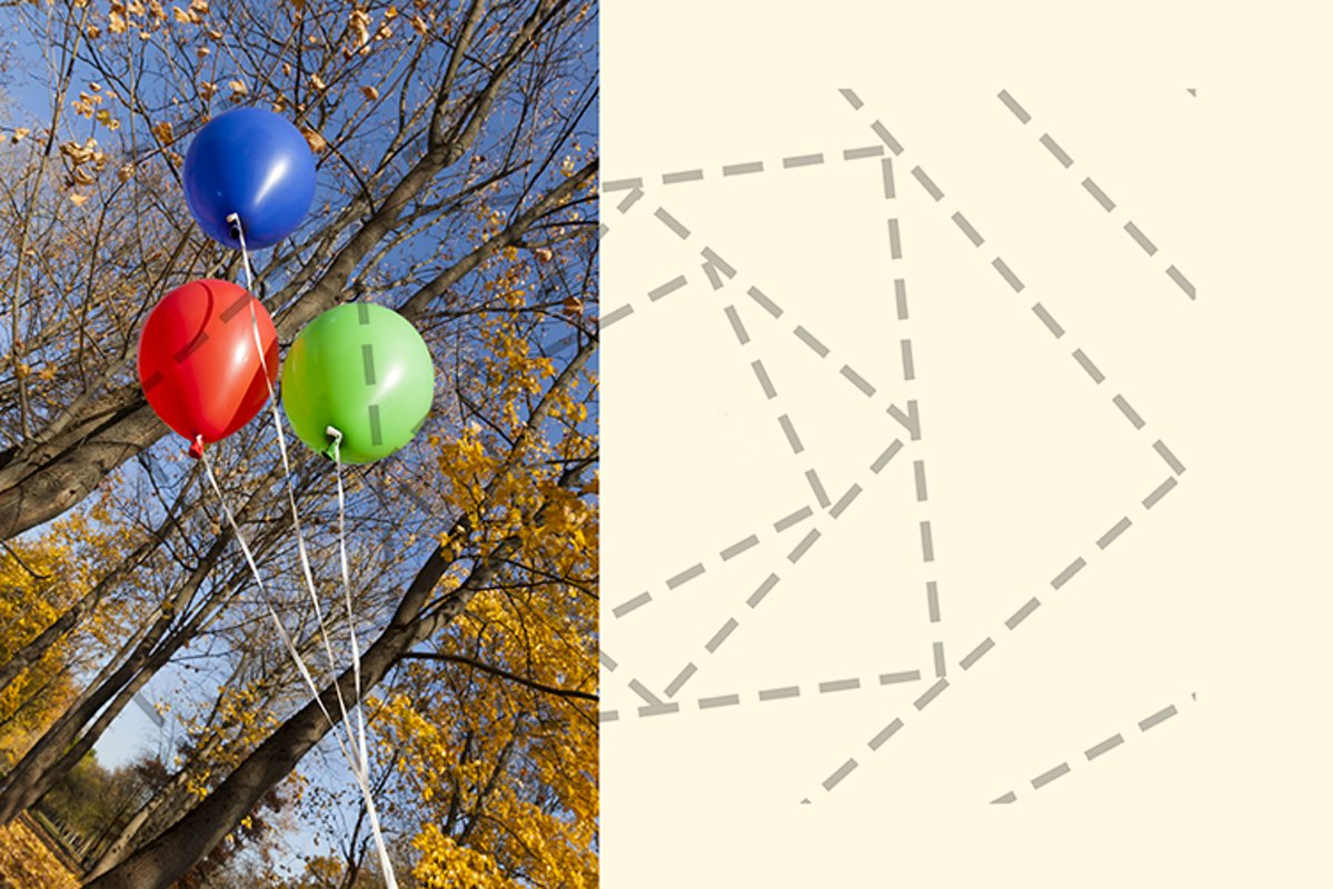 Red blue green balloons example image 1