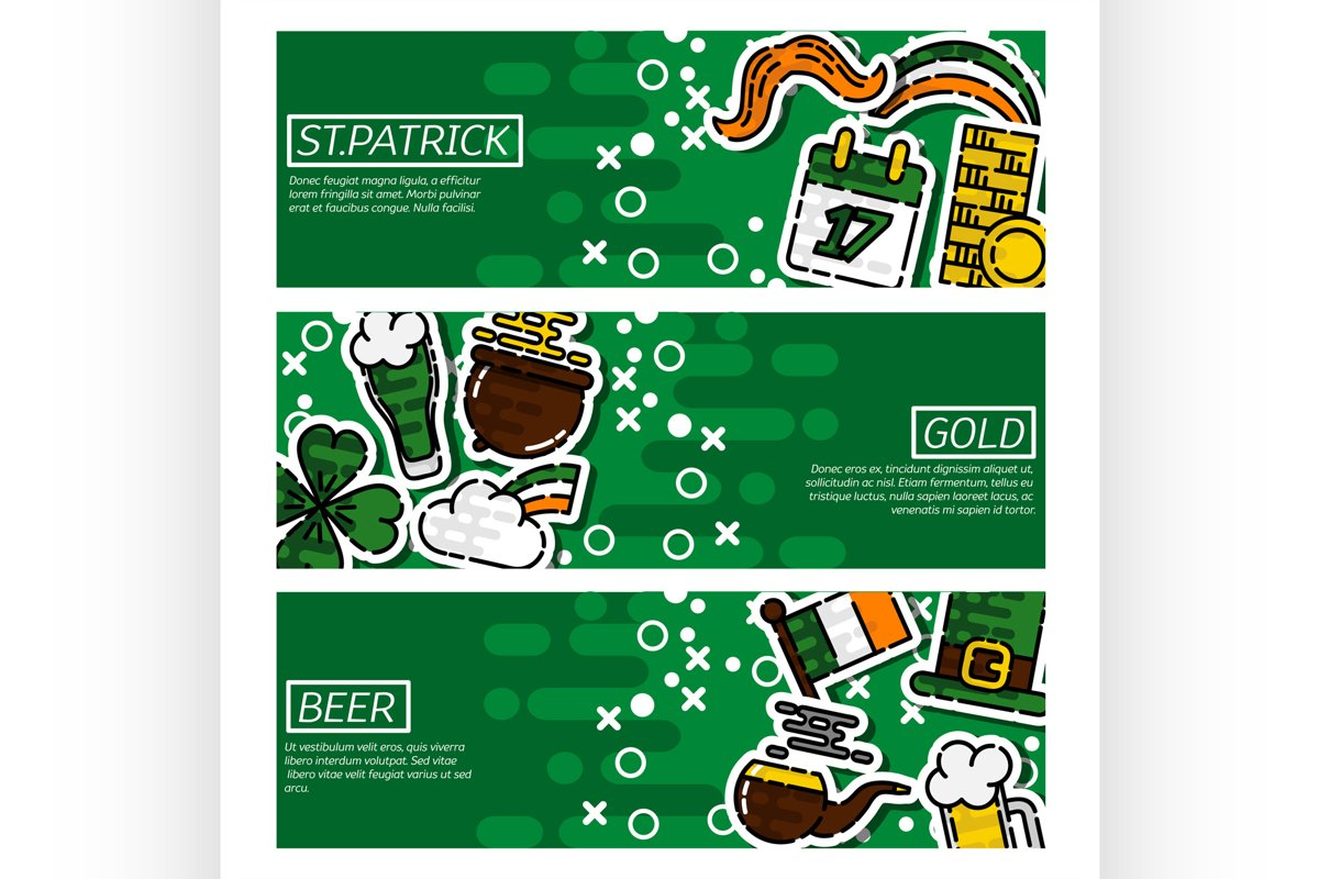 Set of Horizontal Banners St.Patricks Day example image 1