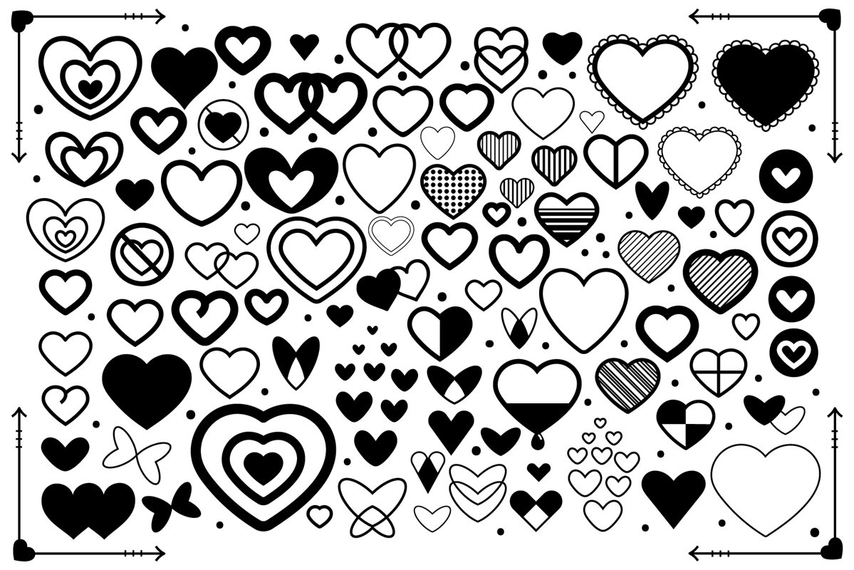 Simple Doodle Heart Clip Art Set example image 1