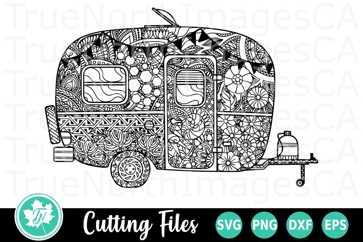Camper - A Zentangle SVG Cut File example image 1