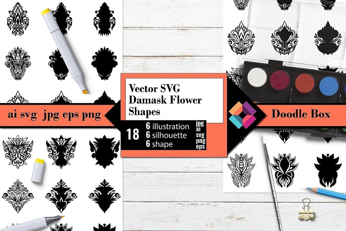 Vector SVG Damask Flower Shapes example image 1