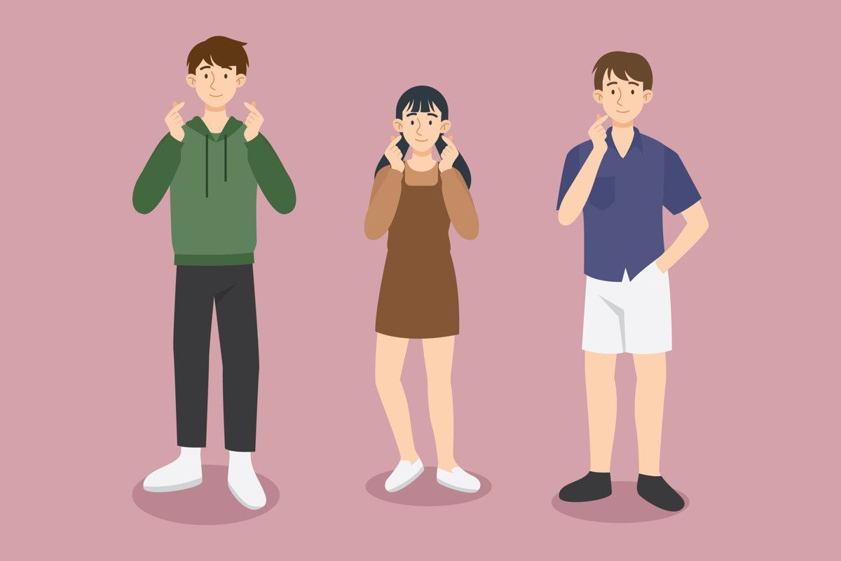 Young Koreans Doing Finger Heart example image 1