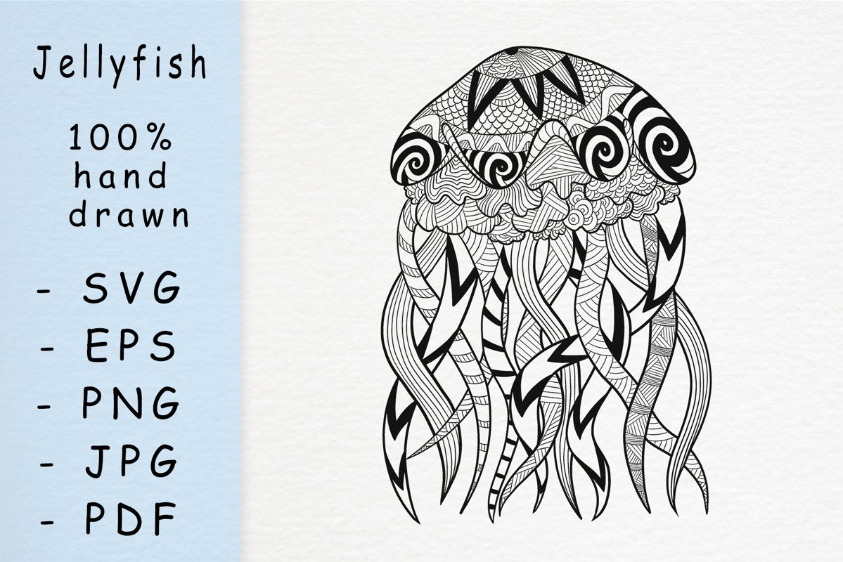 Hand drawn jellyfish with patterns example image 1