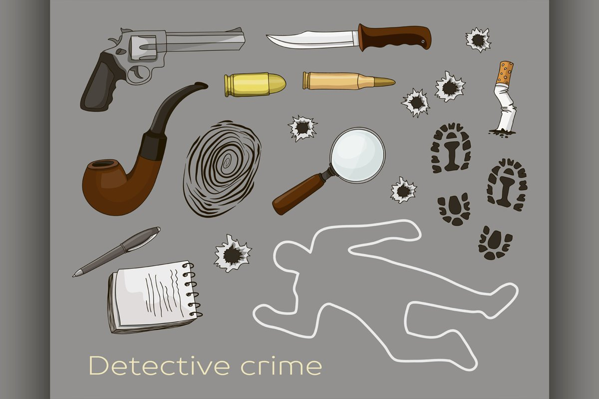 Vector detective crime icons set example image 1