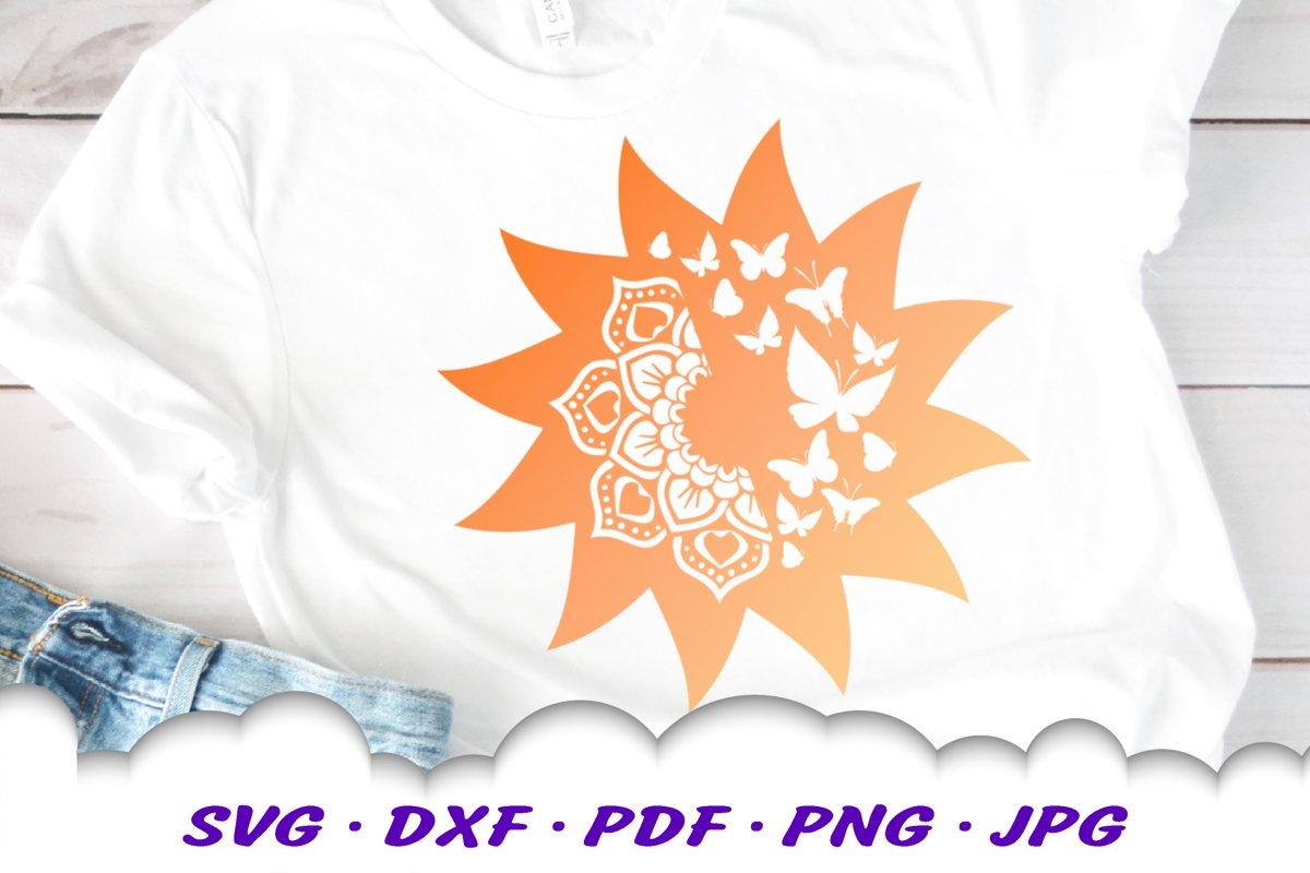 Mandala Butterfly Sun Celestial SVG DXF Cut Files example image 1