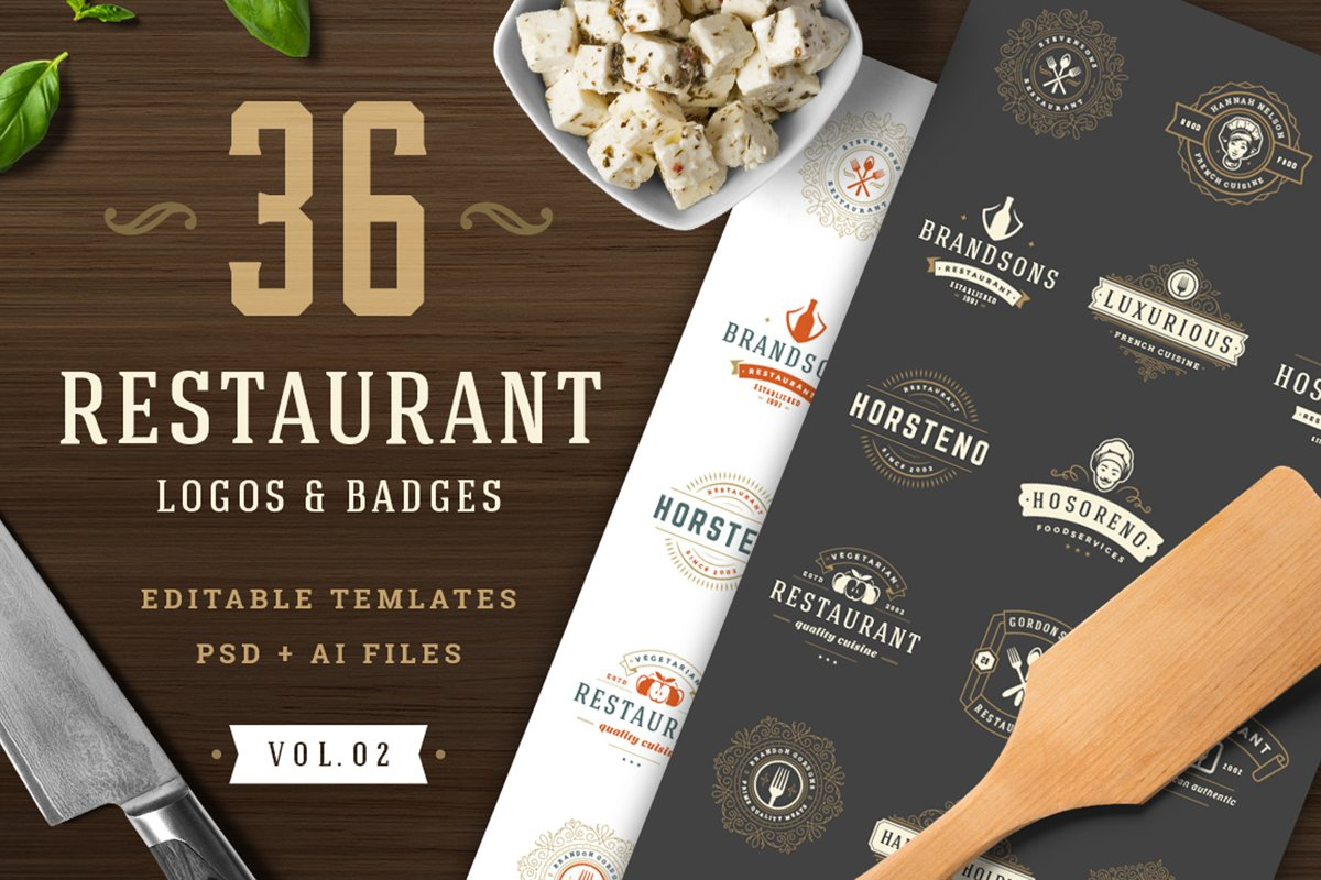 36 Restaurant Logos and Badges example image 1
