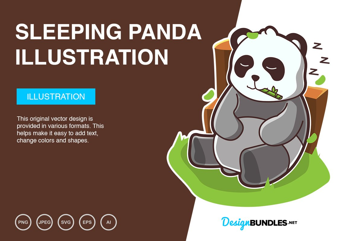 Sleeping Panda Vector Illustration example image 1