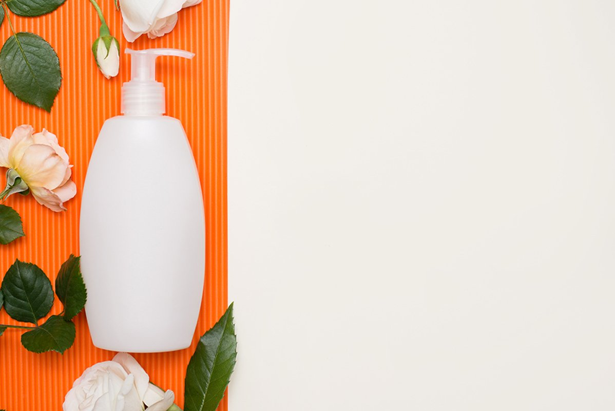 white bottle with cream, shampoo for hair example image 1
