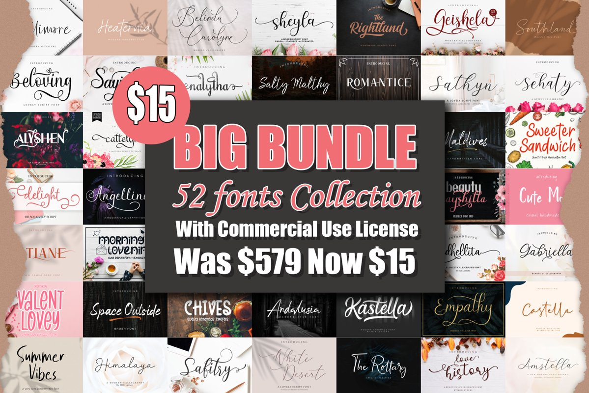BIG BUNDLE - BEST FONT COLLECTIONS example image 1