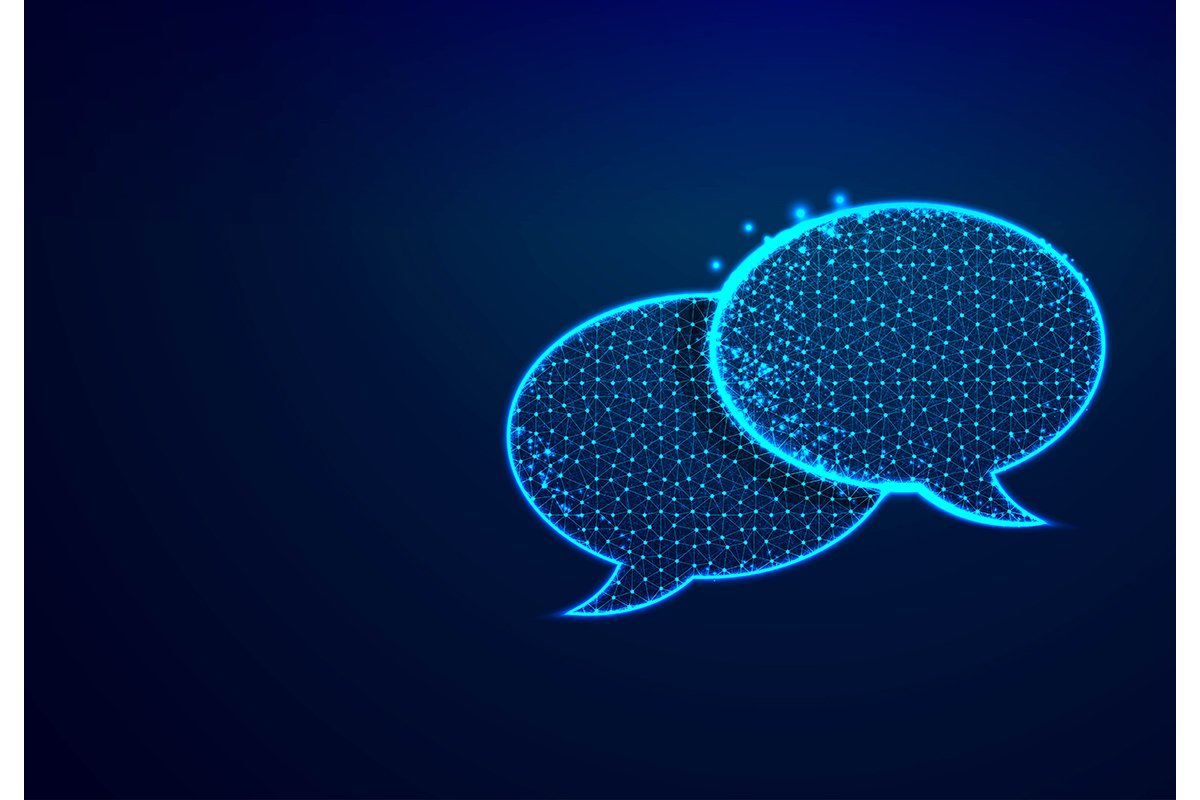 Dialogue, Chat clouds. Speech bubble icon from lines, triang example image 1