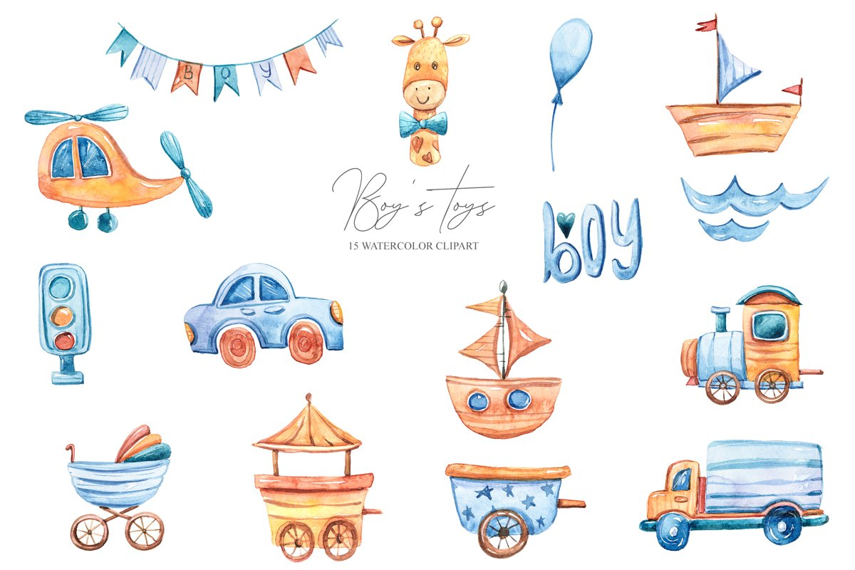 Watercolor cute boy's world. Toy transport clipart example image 1