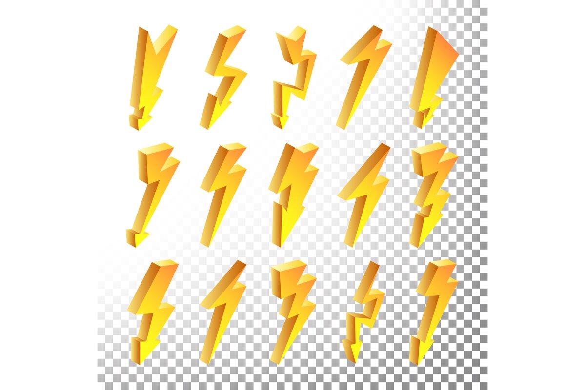 3D Lightning Icons Vector Set. Cartoon Yellow Lightning example image 1