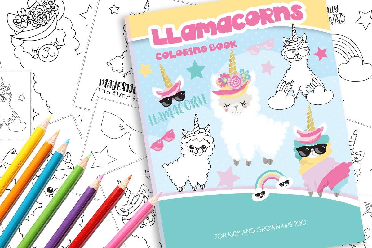 Unicorn Llama Coloring Book example image 1