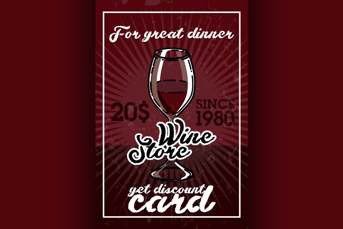 Color vintage wine store banner example image 1