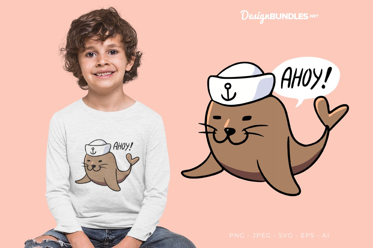 Ahoy Captain Seal! Vector Illustration For T-Shirt Design example image 1