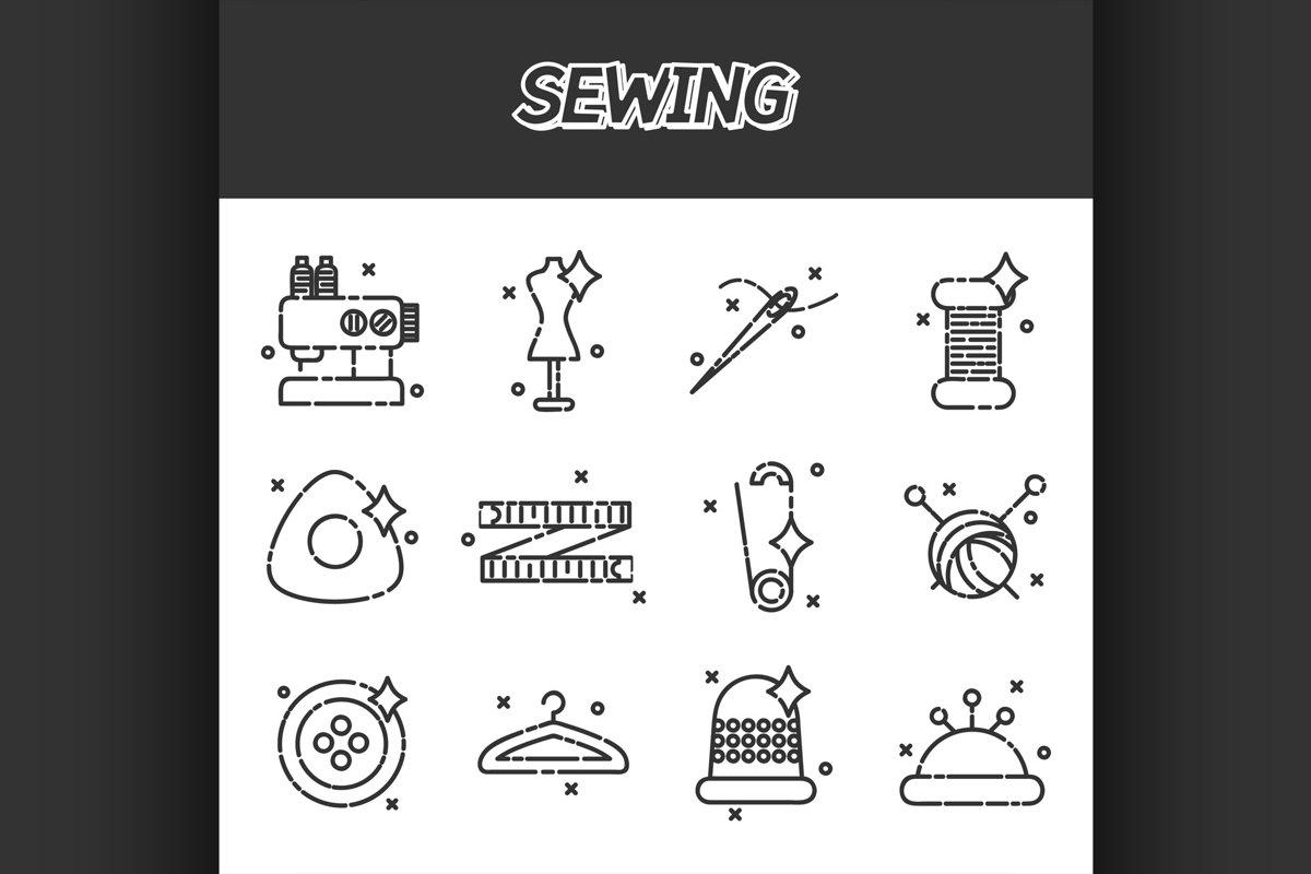 Sewing flat icons set example image 1