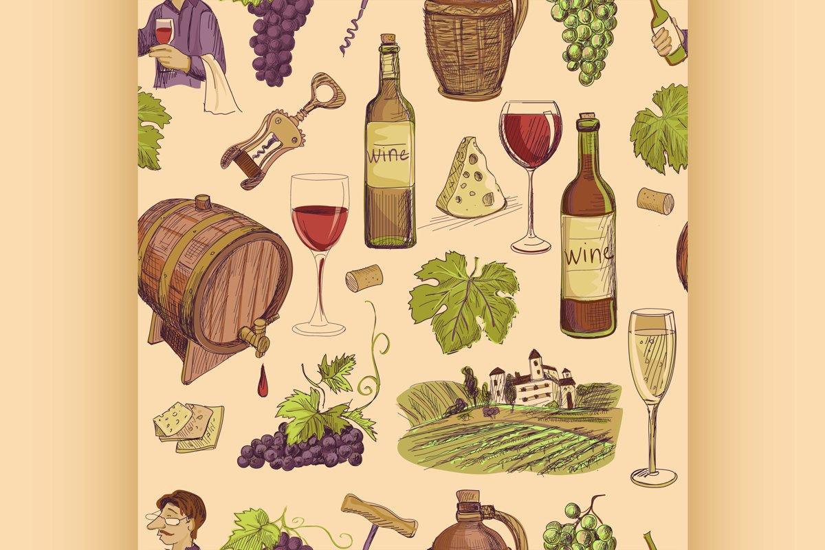 Wine vintage hand drawn sketch seamless pattern example image 1