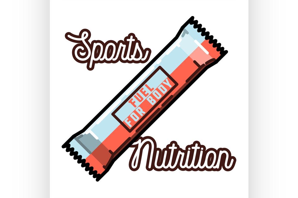 Color vintage sports nutrition emblem example image 1