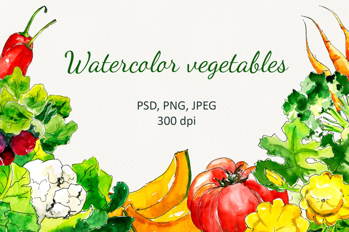 """""""Fresh vegetables"""" Watercolor set example image 1"""