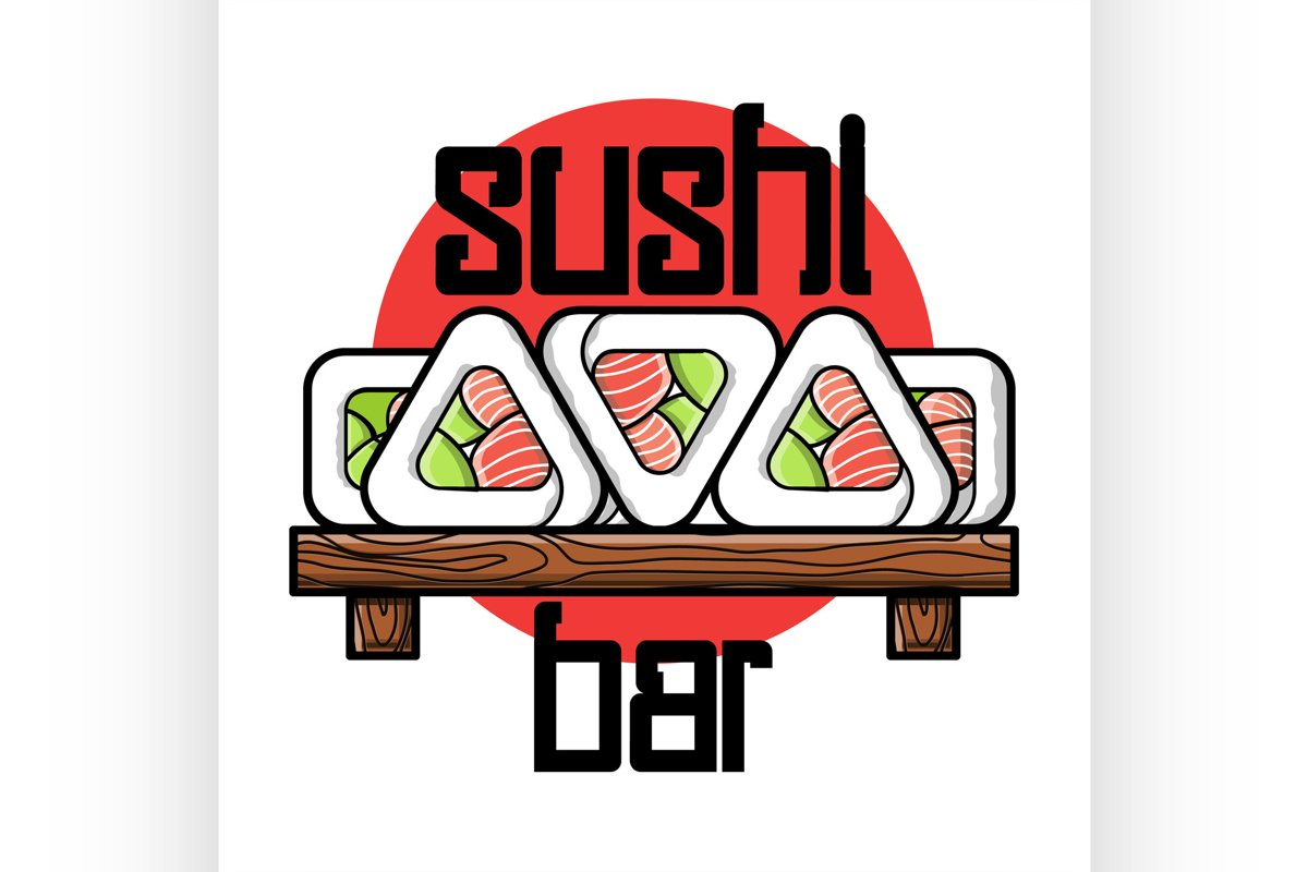Color vintage sushi bar emblem example image 1