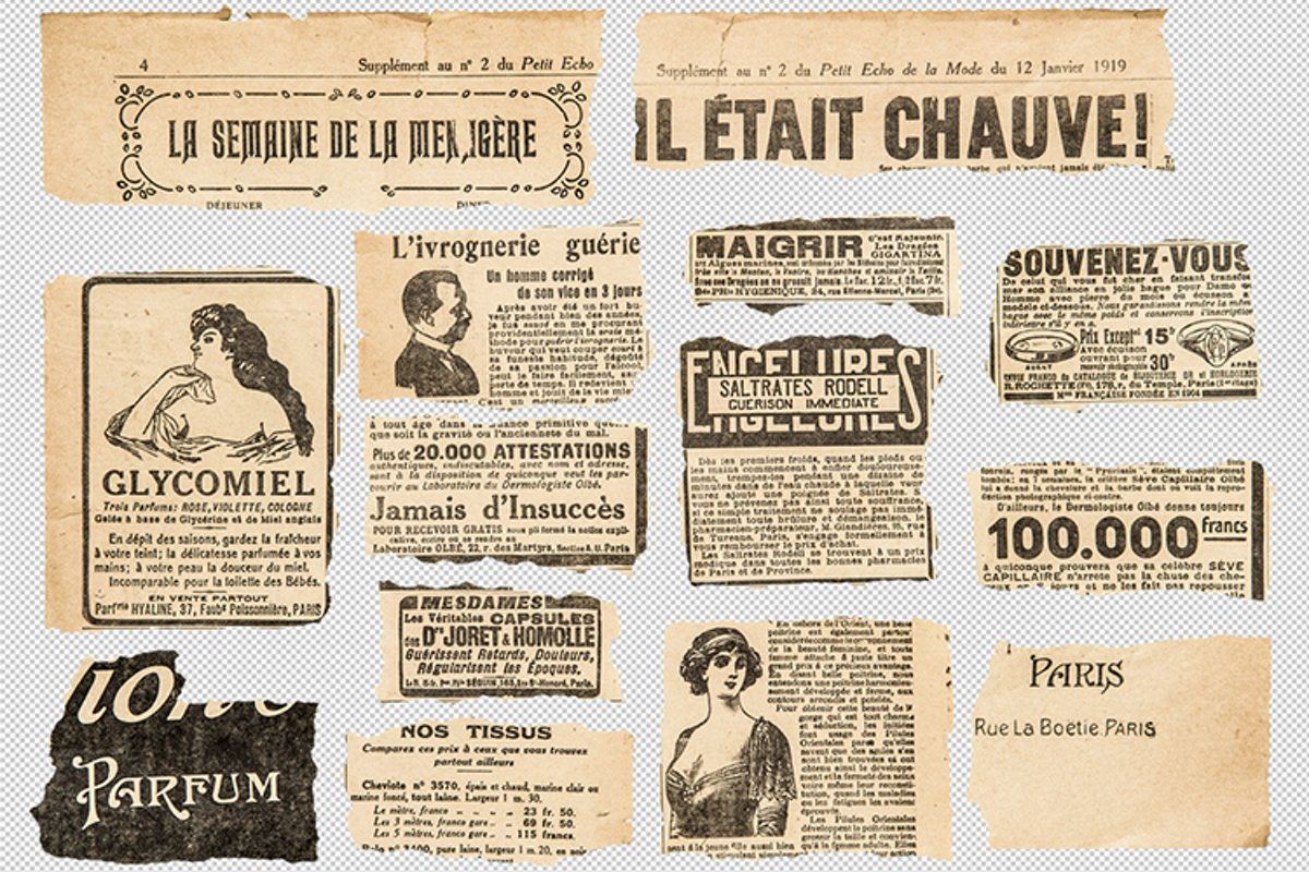 Newspaper pieces. French vintage magazine pages PSD example image 1