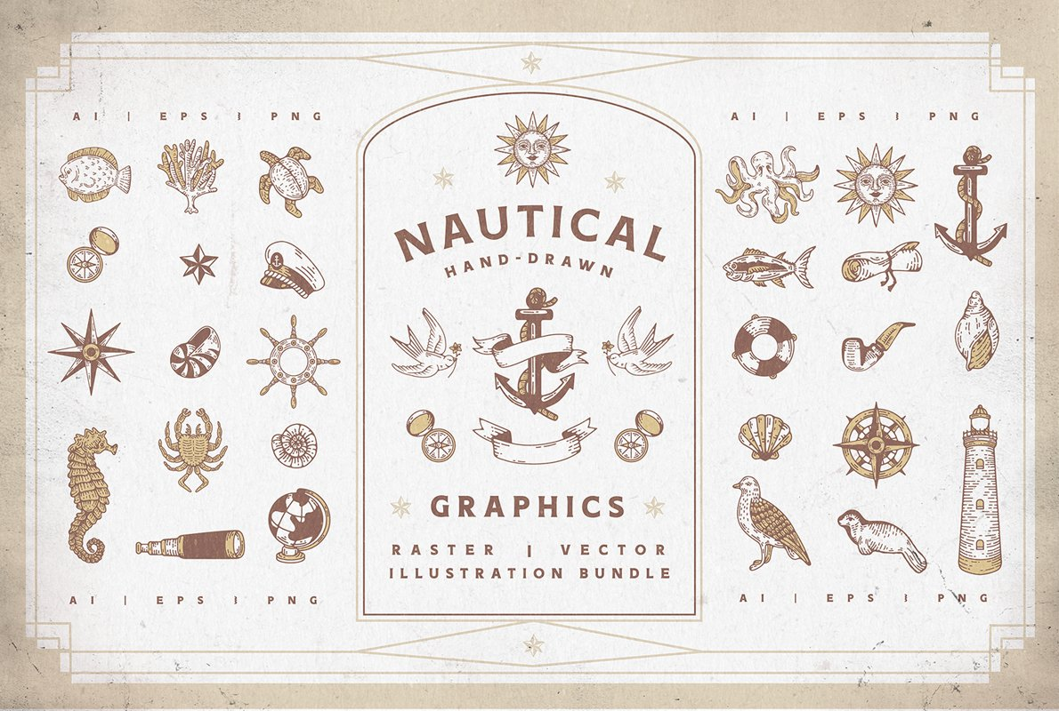 Nautical Vectors   Graphics Set example image 1