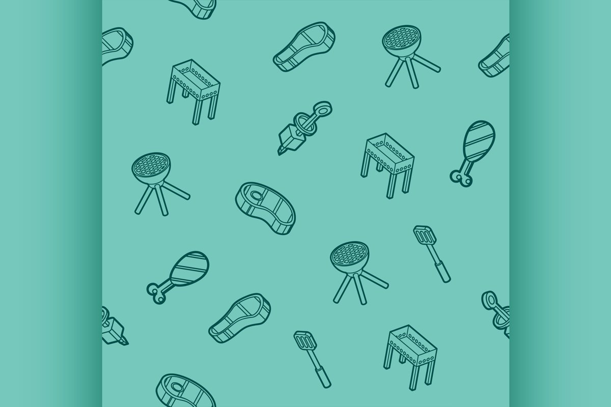 BBQ outline isometric pattern example image 1