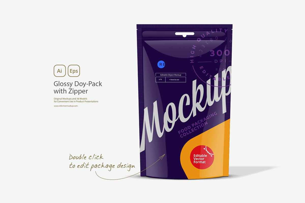 Glossy Doy-Pack with Zipper example image 1