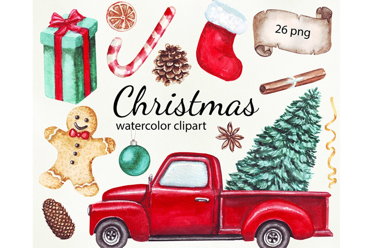 Watercolor Merry Christmas clipart png example image 1