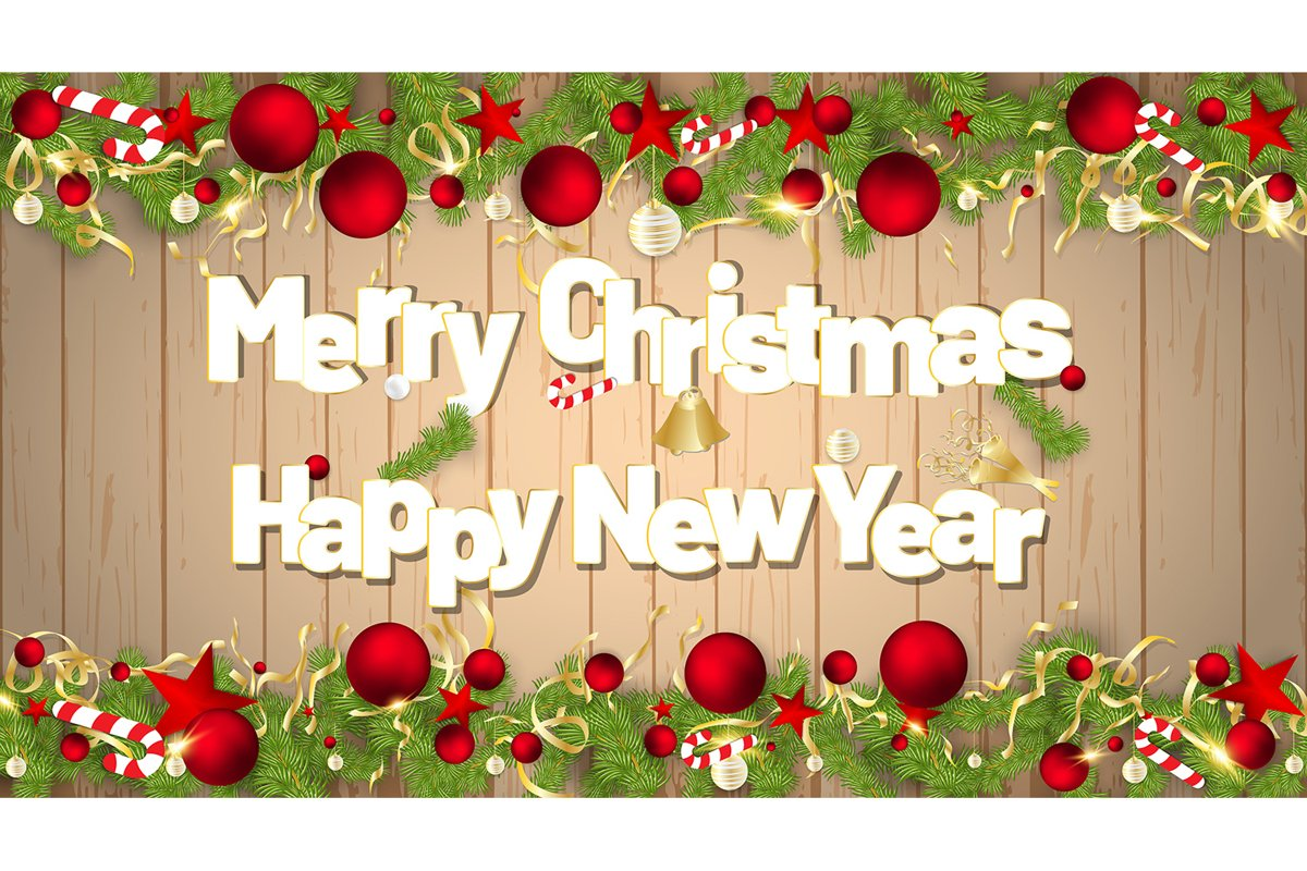 Vector of a Merry Christmas and Happy New Year example image 1