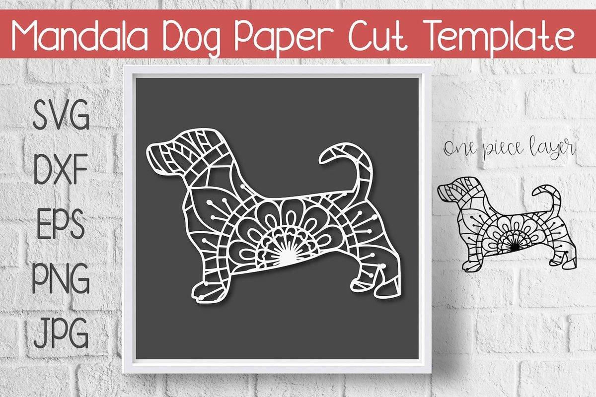 Mandala Dog Paper Cut Template Design