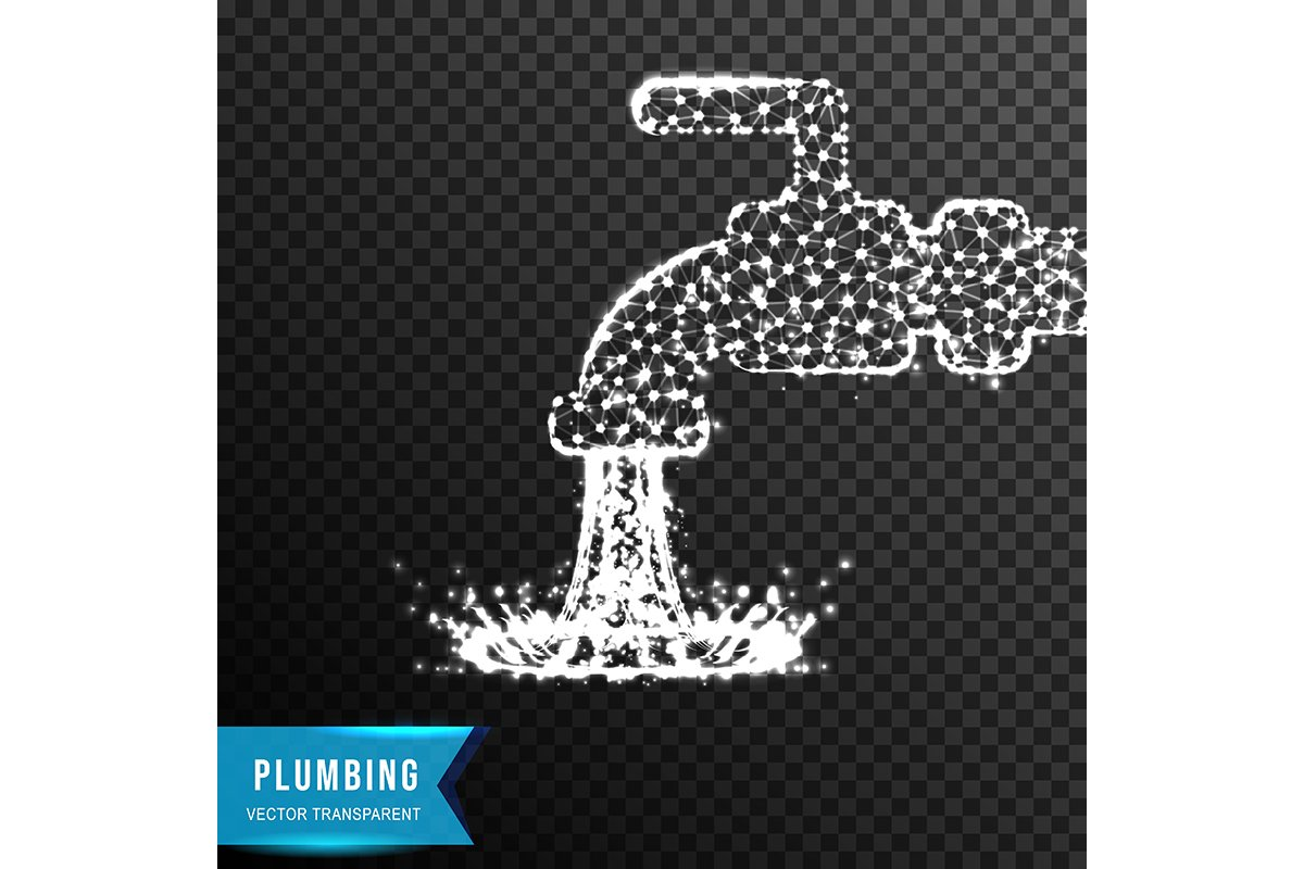water fauchet. plumbing concept from connecting dot and line example image 1