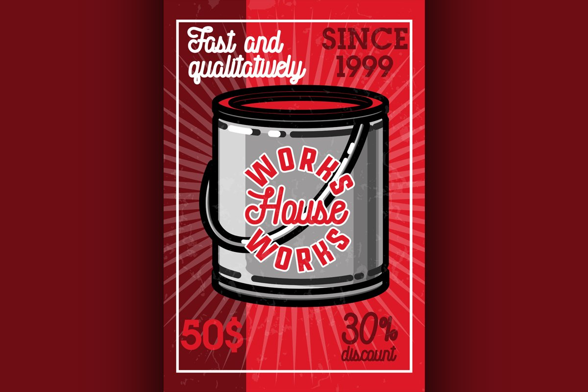 Color vintage house works banner example image 1