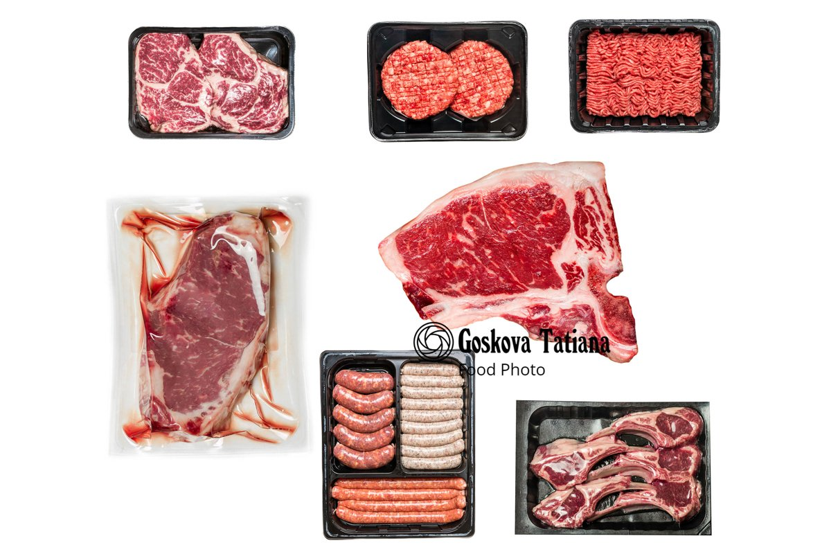 Photo of set of various raw meat in a plastic tray isolated example image 1